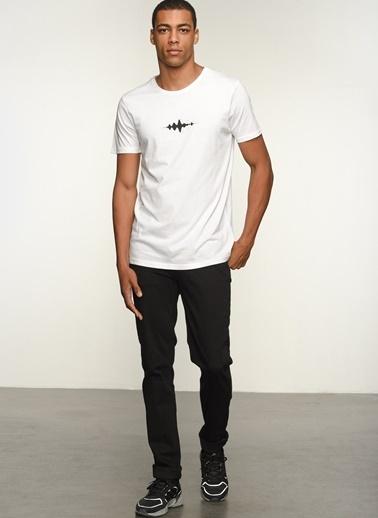 People By Fabrika Erkek Baskılı  Tişört PFESS21TS0035 Beyaz
